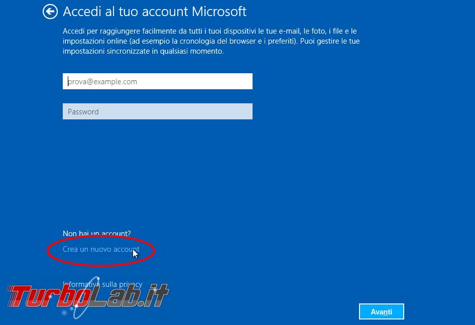 Installare windows con un profilo utente offline senza for Mail il tuo account e stato hackerato