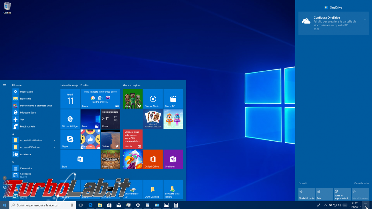 versione 1709 windows 10