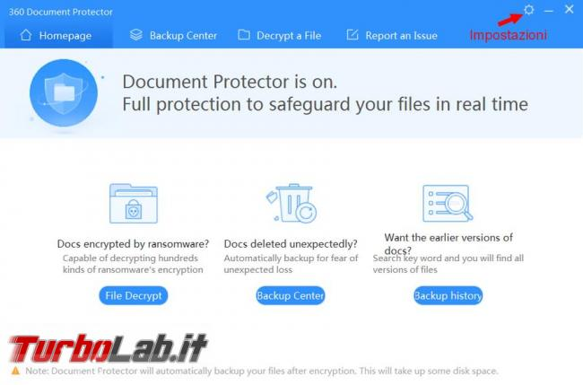 360 Document Protector esegue copia file, tempo reale, proteggerli virus cryptolocker