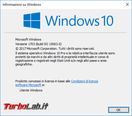 aggiornamento automatico Windows 10 Creators Update inizia oggi! - winver windows 10 1703