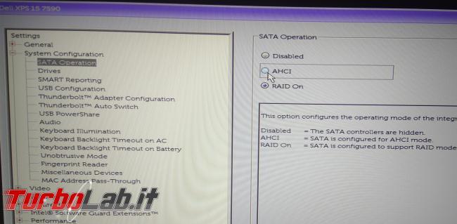 Aiuto! Installazione Linux / Ubuntu non vede disco SSD! Come attivare AHCI disattivare RAID senza reinstallare Windows? - PHO_20190913_153819