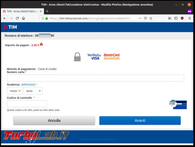 Allarme truffa SMS: MyTIM, Regolarizzare situazione - tim-fatturazione.com
