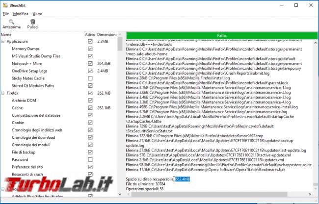 Alternativa CCleaner pulire PC: guida BleachBit Windows - scansionebleachbit2