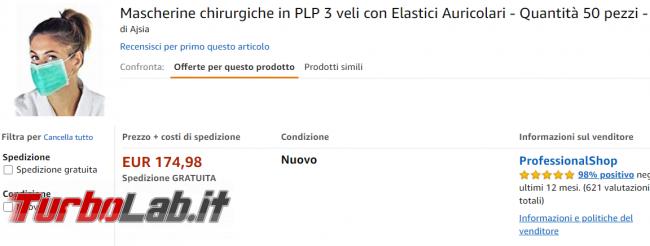 Amazon Coronavirus: 20 euro mascherina - FrShot_1582462506