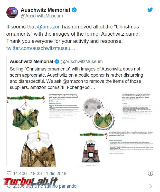 Amazon ritira decorazioni natalizie tema Auschwitz - FrShot_1575301162
