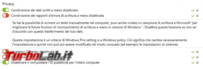 & ShutUp10 gestisce aumenta privacy Windows 10