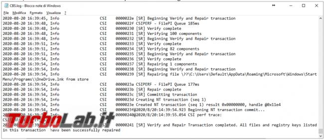Analizza ripristina l'integrità file sistema comando Sfc