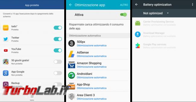 Android: disattivare ottimizzazione batteria app