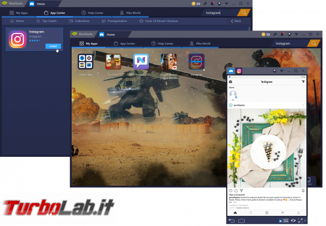App giochi Android Windows: guida rapida BlueStacks - instagram bluestacks