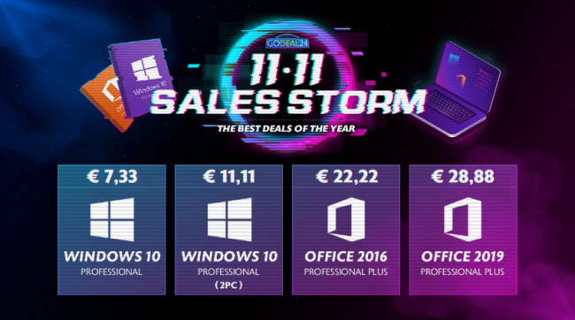 Approfitta migliori offerte Sales Storm 11.11 GoDeal24: Windows 10 soli € 7,33 - FrShot_1604481765_