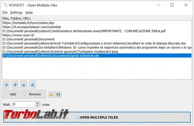 Apri contemporaneamente tutti file, cartelle indirizzi Web ti servono Open Multiple Files