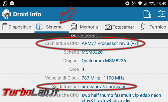 ARM, ARM64, x86 x86_64: come scoprire architettura CPU ed set istruzioni supportato smartphone Android - Screenshot_20161226-234906