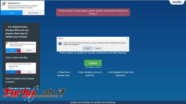 Attenti falso aggiornamento Firefox antivirus