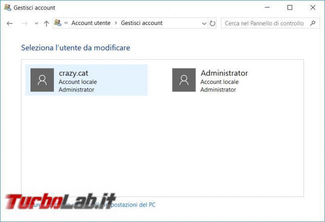Attivare utente Administrator computer