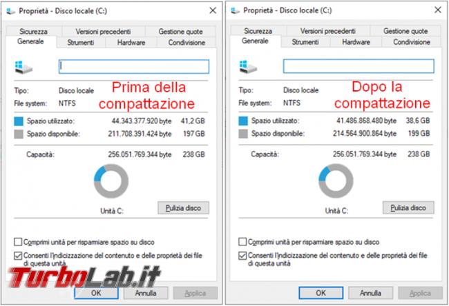 Attivare Windows 10 Compact OS liberare spazio disco fisso