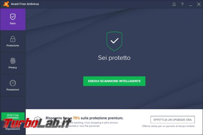Avast free Antivirus 2017 prova TurboLab.it