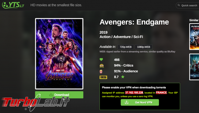 Avengers: Endgame 1080p è già disponibile .... BitTorrent - Screenshot 2019-07-30 at 10.26.32