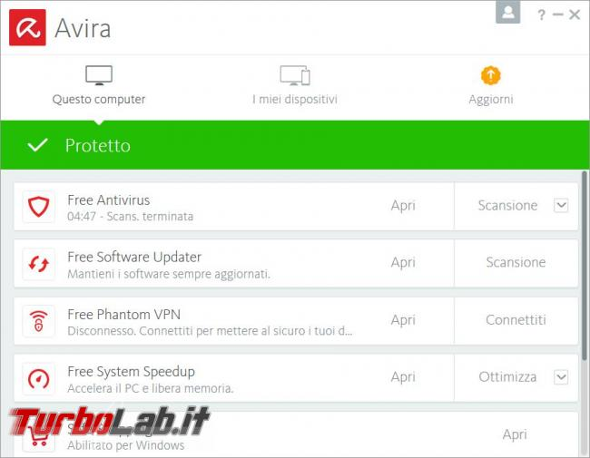 Avira Free Security Suite 2018 prova TurboLab.it