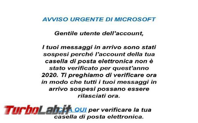Avviso urgente Microsoft, è email phishing - 117222263_1686812294813778_6661618876853026038_n
