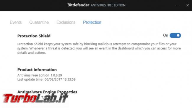 Bitdefender antivirus free prova TurboLab.it 2017