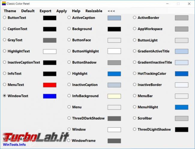 Cambiare carattere, dimensioni colori elementi utilizzati Windows 10