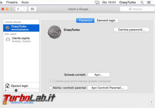 Cambiare nome password dell'account Mac OS X