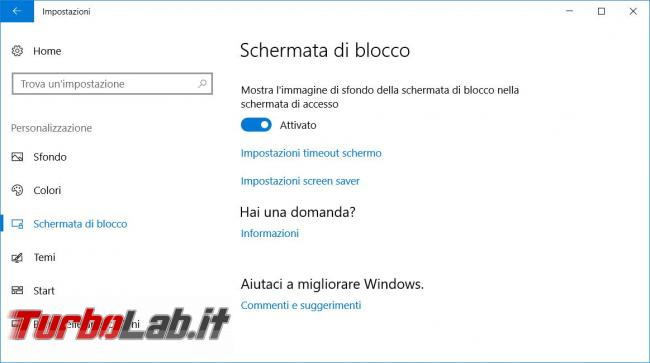 Cambiare sfondi desktop lock screen Windows 10 poi impedirne modifica