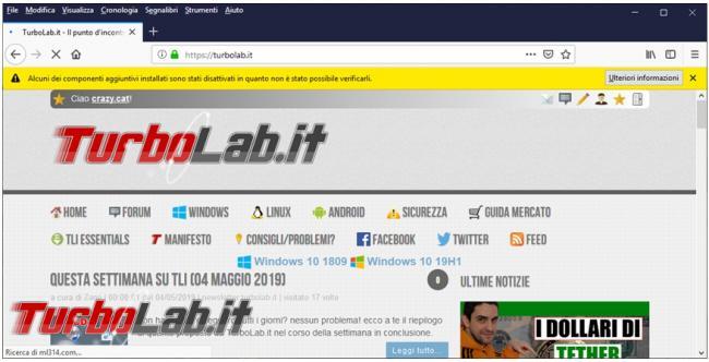 certificato scaduto blocca estensioni Firefox