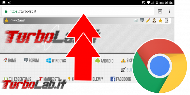 Chrome Android: come spostare alto (ripristinare) Barra indirizzi - chrome android barra in alto spotlight