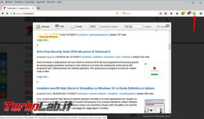 Chrome Firefox: Come eliminare oggetti inutili pagina web prima mandarla stampa