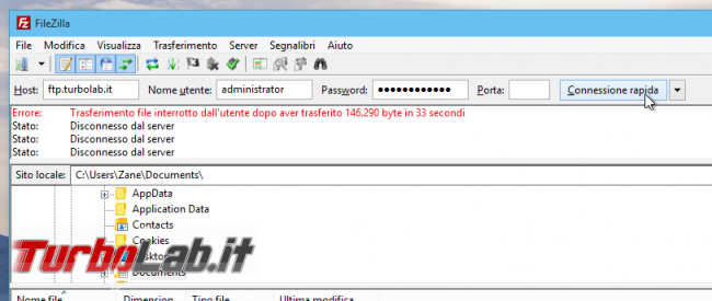 Client FTP (FileZilla), guida rapida - caricare scaricare file server FTP remoto - guida filezilla (13)