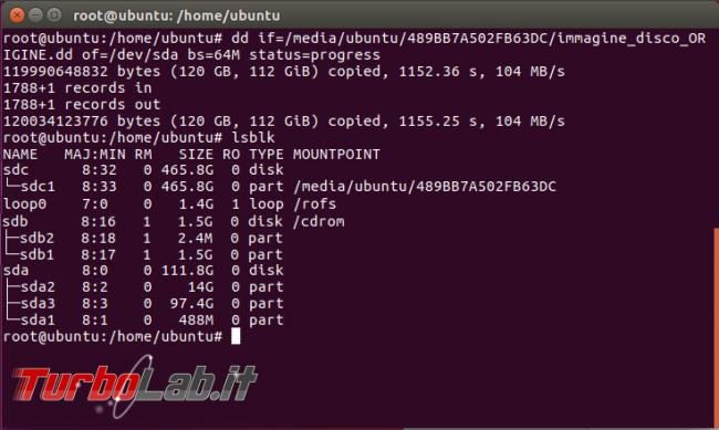 Clonare hard disk dd gestire clone creato