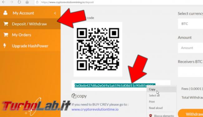 Cloud mining cos'è: video-guida completa iniziare subito (Bitcoin, Ethereum, Litecoin) - 06_deposit_address pic