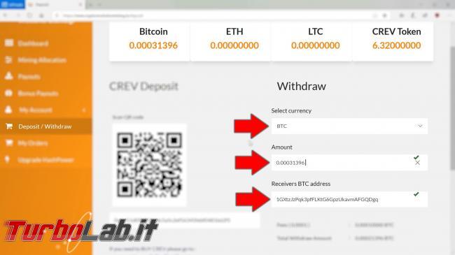 Cloud mining cos'è: video-guida completa iniziare subito (Bitcoin, Ethereum, Litecoin) - 18_btc_withdraw pic