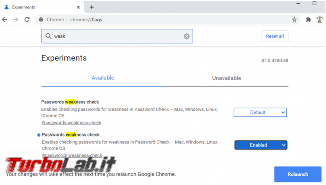 Come abilitare controllo password deboli Chrome
