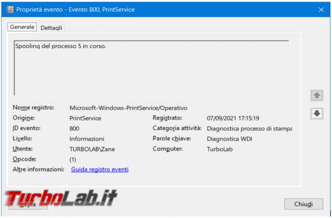 Come abilitare log stampe eseguite Windows 10