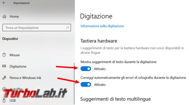 Come abilitare suggerimento testi durante digitazione Windows 10