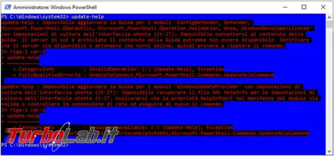 Come aggiornare completamente guide supporto PowerShell