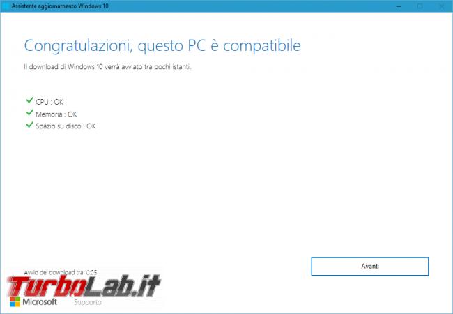 Come aggiornare subito Windows 10 1803 (Aprile 2018), quando non si trova Windows Update