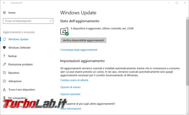 Come aggiornare subito Windows 10 1809 (Ottobre 2018), quando non si trova Windows Update