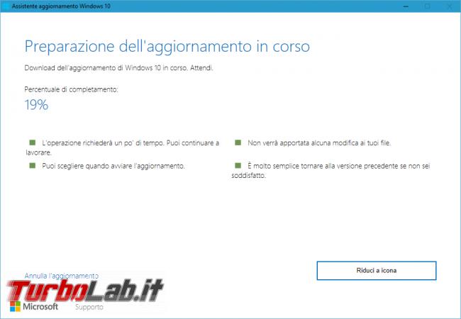 Come aggiornare subito Windows 10 1903 (Maggio 2019), quando non si trova Windows Update