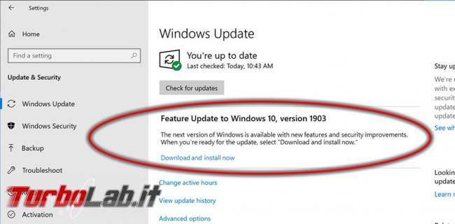 Come aggiornare subito Windows 10 1903 (Maggio 2019), quando non si trova Windows Update - upgrade build windows 10