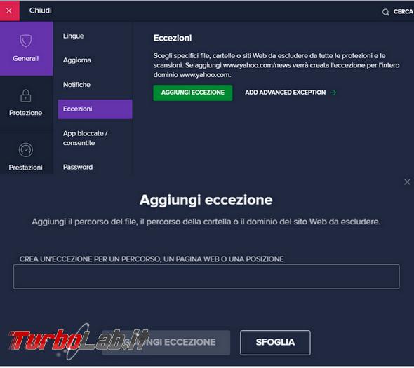 Come aggiungere file cartella lista esclusioni dell'antivirus