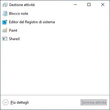 Come aprire Task manager Prestazioni Dettagli Windows 10 - Gestione attività ridotta più dettagli
