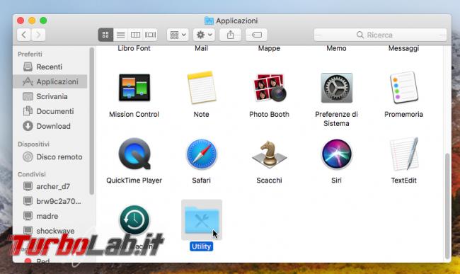 Come aprire Terminale/Prompt comandi Mac (macOS 11 Big Sur) - macos finder applicazioni utility