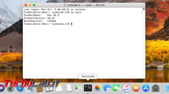 Come aprire terminale/Prompt comandi Mac (macOS High Sierra) - macos apri terminale dock