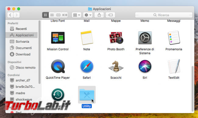 Come aprire terminale/Prompt comandi Mac (macOS High Sierra) - macos finder applicazioni utility
