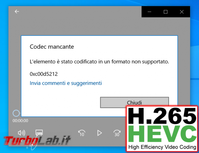 Come aprire video HEVC / H.265 Windows 10 (download codec MP4/MKV, errore elemento è stato codificato formato non supportato) - h.265 codec mancante