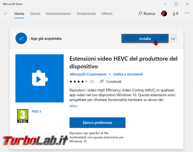 Come aprire video HEVC / H.265 Windows 10 (download codec MP4/MKV, errore elemento è stato codificato formato non supportato) - Microsoft store codec hevc h.265