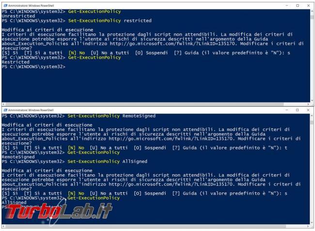 Come attivare/abilitare esecuzione script .ps (PowerShell: Impossibile caricare file. esecuzione script è disattivata sistema uso / about_Execution_Policies)